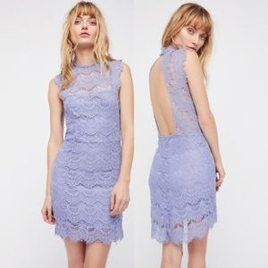 NWT Free People Daydream Periwinkle Lace MiniDress